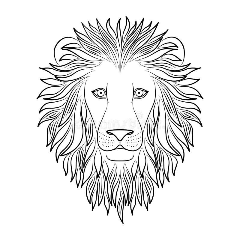 Geïsoleerd zwart overzichtshoofd van leeuw op witte achtergrond De koning van het lijnbeeldverhaal van dierenportret Krommelijnen stock illustratie