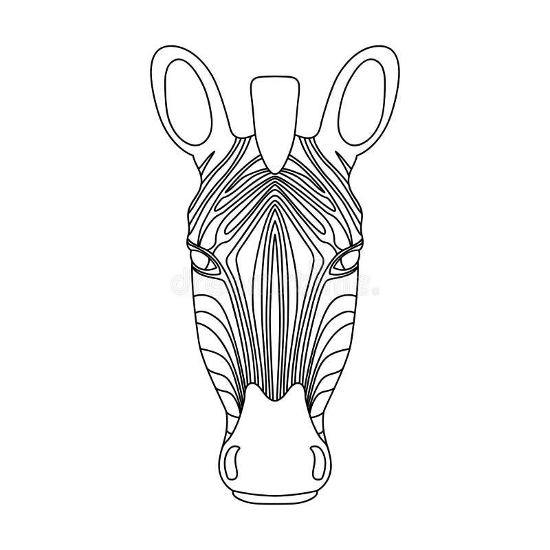 Geïsoleerd zwart overzichtshoofd van zebra op witte achtergrond Het portret van het lijnbeeldverhaal vector illustratie