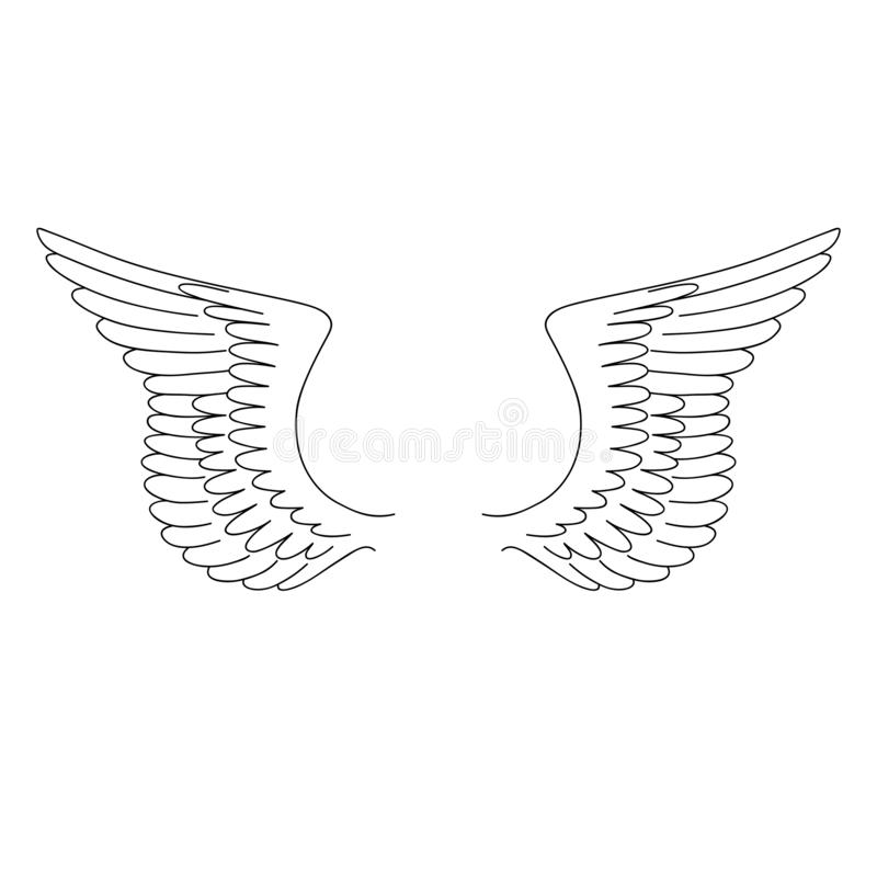 Geïsoleerd zwart overzichtspaar vleugels op witte achtergrond Krommelijnen vector illustratie