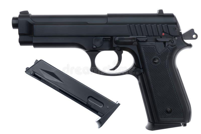 Geïsoleerd zwart pistool stock afbeelding