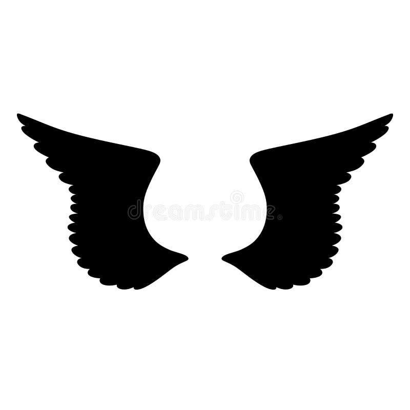 Geïsoleerd zwart silhouet van paar vleugels op witte achtergrond royalty-vrije illustratie