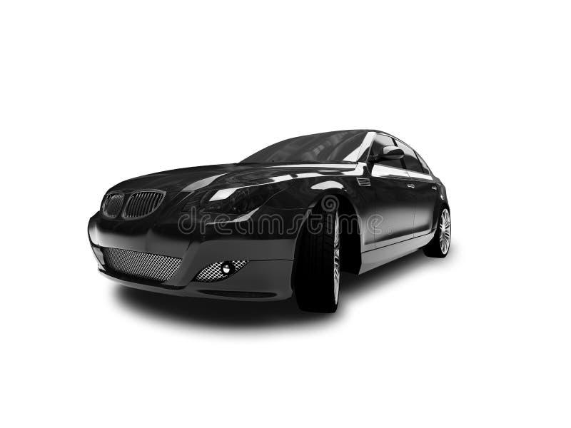 Geïsoleerda zwart auto vooraanzicht vector illustratie
