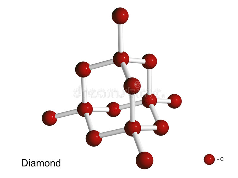 Geïsoleerdd 3D model van een kristalrooster van diamant stock illustratie