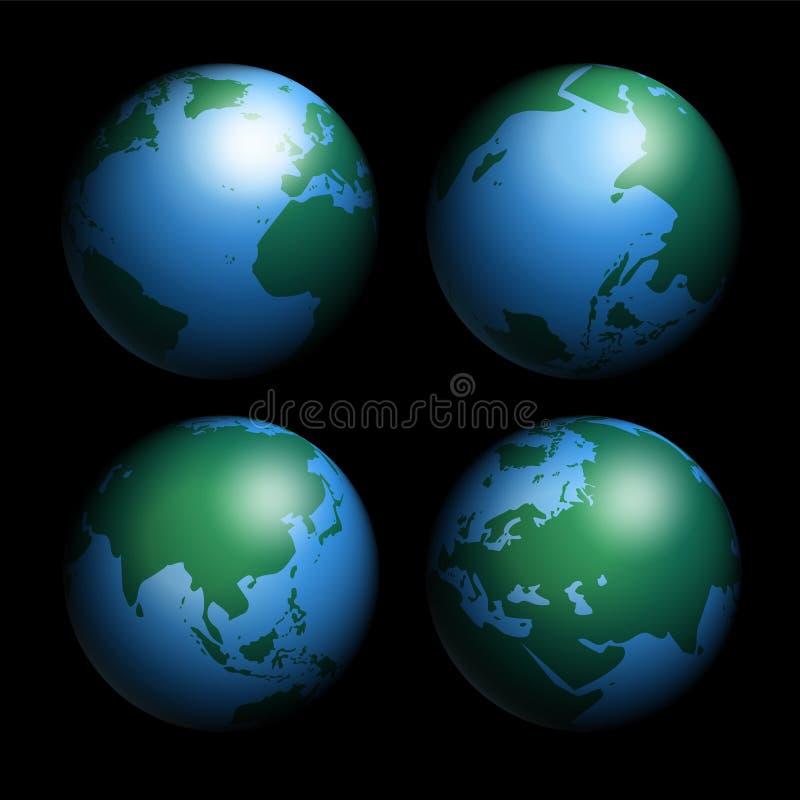 Geïsoleerde aardebollen vector illustratie