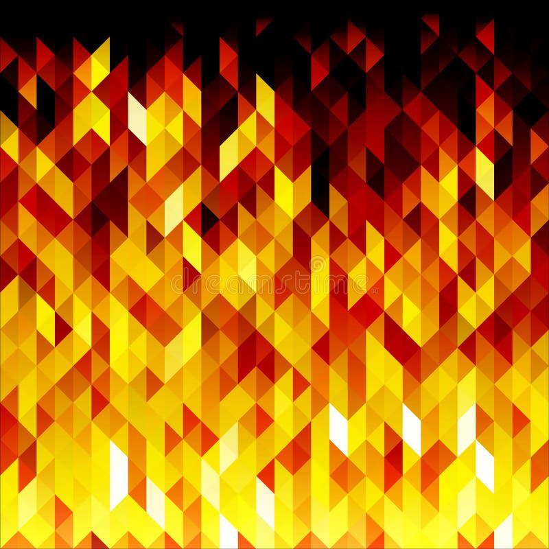 Geïsoleerde abstracte gele lowpoly vectorachtergrond Veelhoekige brandachtergrond stock illustratie