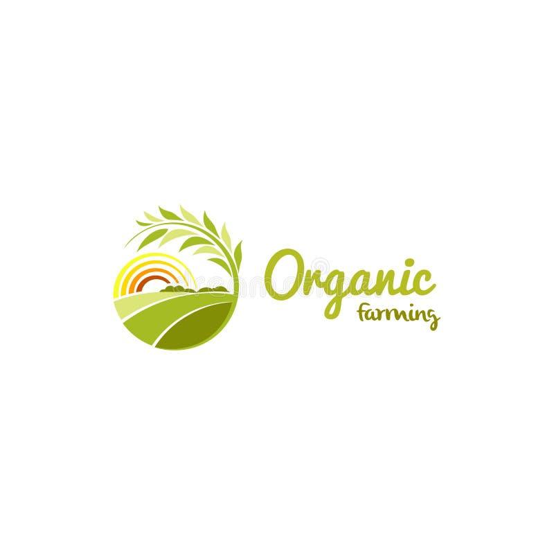 Geïsoleerde abstracte groene kleur om embleem van de vorm het zonnige weide, landbouwlogotype vectorillustratie stock illustratie