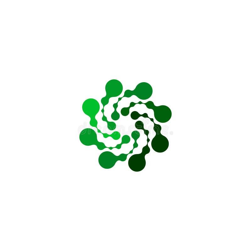 Geïsoleerde abstracte groene kleur om vormembleem op witte achtergrond, eenvoudige vlak gestippelde wervelings logotype vector vector illustratie