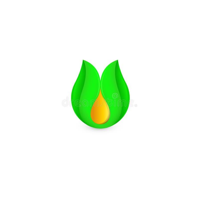 Geïsoleerde abstracte honingsdaling in groen bladembleem Natuurlijke bijenwas logotype Vector gouden biologisch productpictogram  stock illustratie