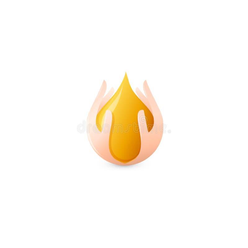 Geïsoleerde abstracte honingsdaling in menselijk palmenembleem Natuurlijke bijenwas logotype Vector gouden biologisch productpict royalty-vrije illustratie