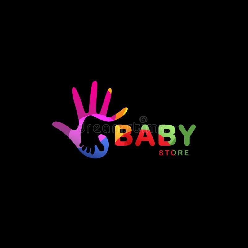 Geïsoleerde abstracte kleurrijke babyvoet in volwassen handembleem Negatieve ruimte logotype De opslagpictogram van jonge geitjes royalty-vrije illustratie
