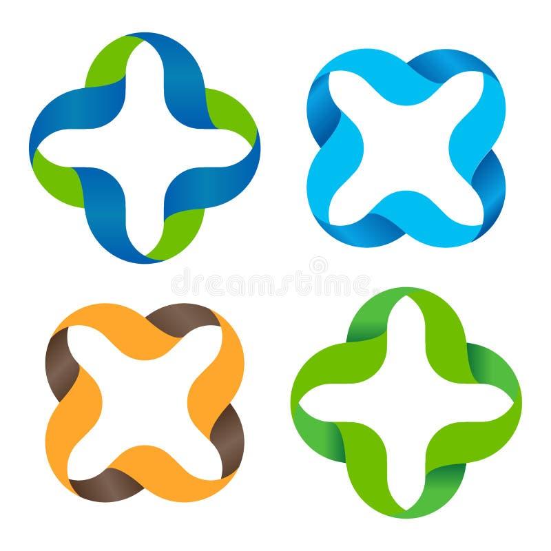Geïsoleerde abstracte kleurrijke dwars vectorembleemreeks Geschetst plus en vermenigvuldigingstekensinzameling Medische pictogram royalty-vrije illustratie
