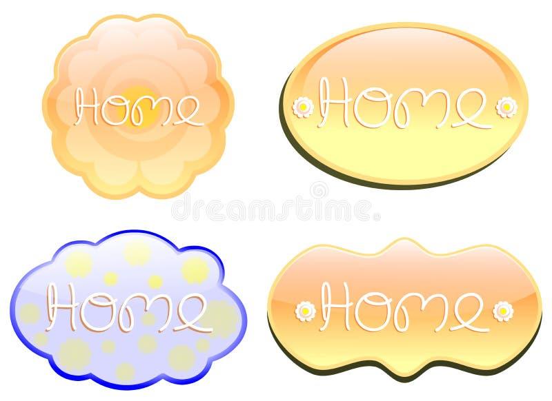 Geïsoleerde Abstracte kleurrijke reeks van etiket met woordhuis stock illustratie