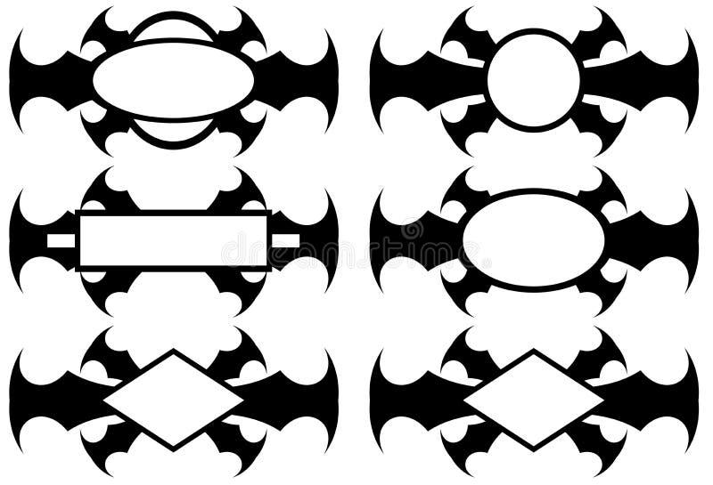 Geïsoleerde Abstracte reeks van etiket in zwarte vector illustratie