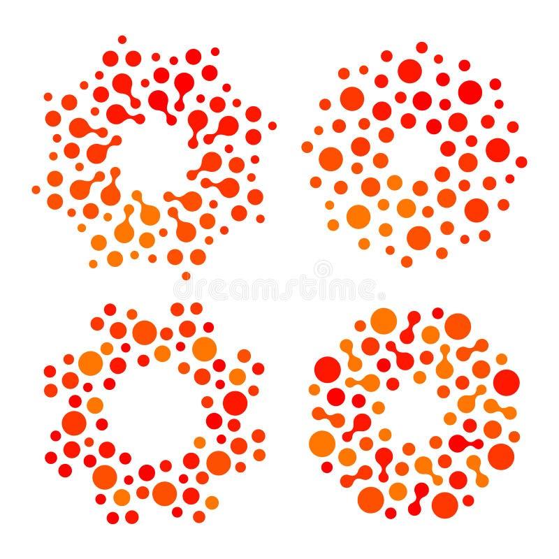 Geïsoleerde abstracte ronde het embleemreeks van de vorm oranje en rode kleur, gestippelde gestileerde zon logotype inzameling op royalty-vrije illustratie