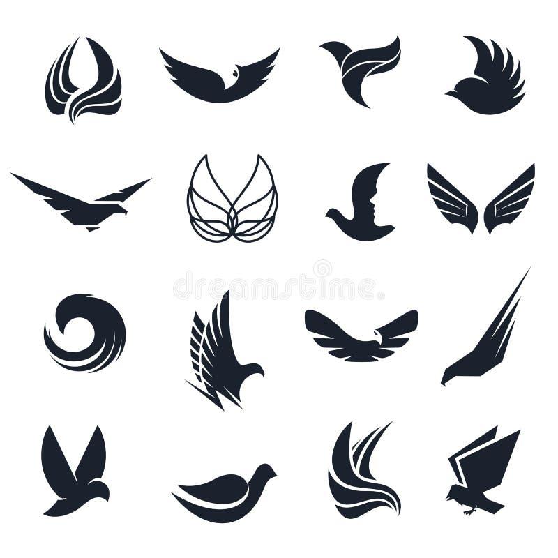 Geïsoleerde abstracte zwart-witte vogels, vlindersvleugels met de reeks van het verenembleem Vlucht logotype inzameling Luchtpict vector illustratie