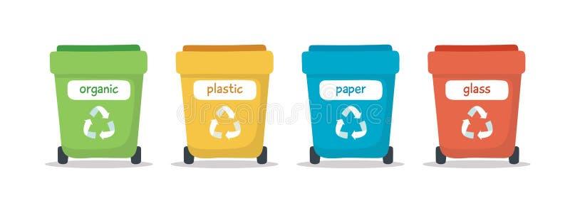Geïsoleerde afval sorterende illustratie met verschillende kleurrijke huisvuilbakken, illustratie voor recycling, duurzaamheid royalty-vrije illustratie