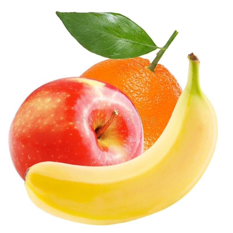 Geïsoleerde appel, banaan en sinaasappel op witte achtergrond stock foto's
