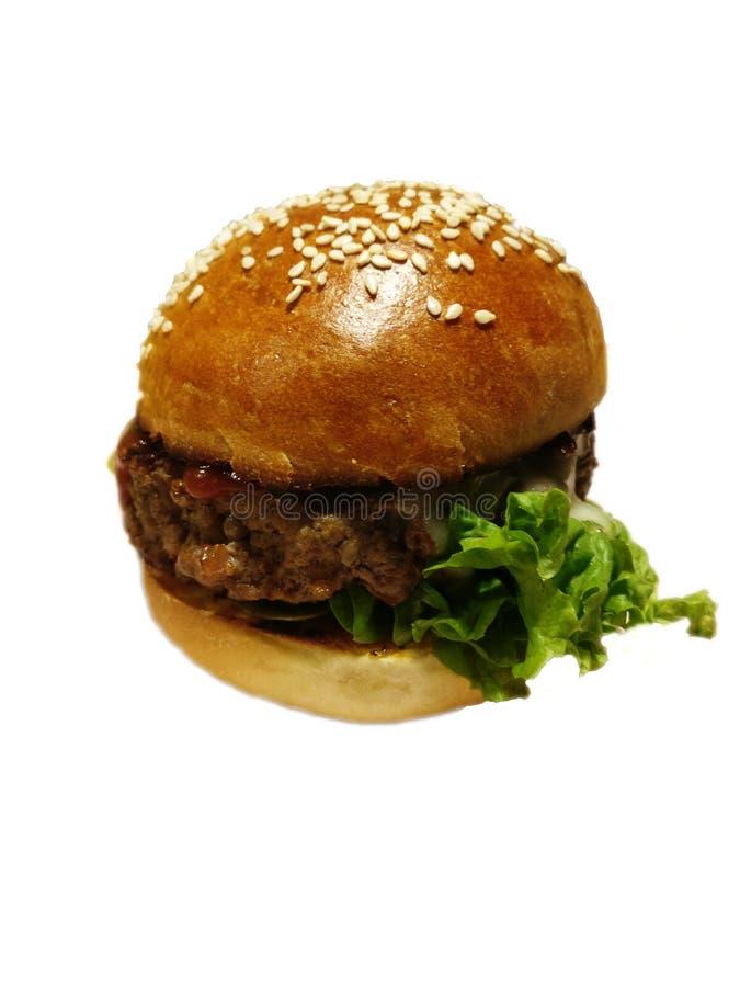 Geïsoleerde aromahamburger stock afbeelding