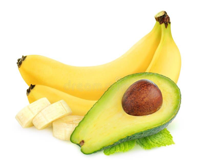 Geïsoleerde avocado en banaanvruchten stock foto