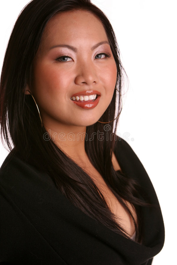 Geïsoleerde Aziaat in zwarte glimlach royalty-vrije stock fotografie