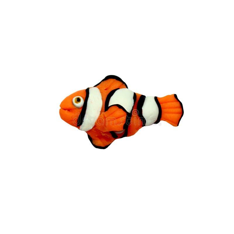 Geïsoleerde beeldhouwwerk van plasticine het tropische clownfish royalty-vrije stock afbeelding