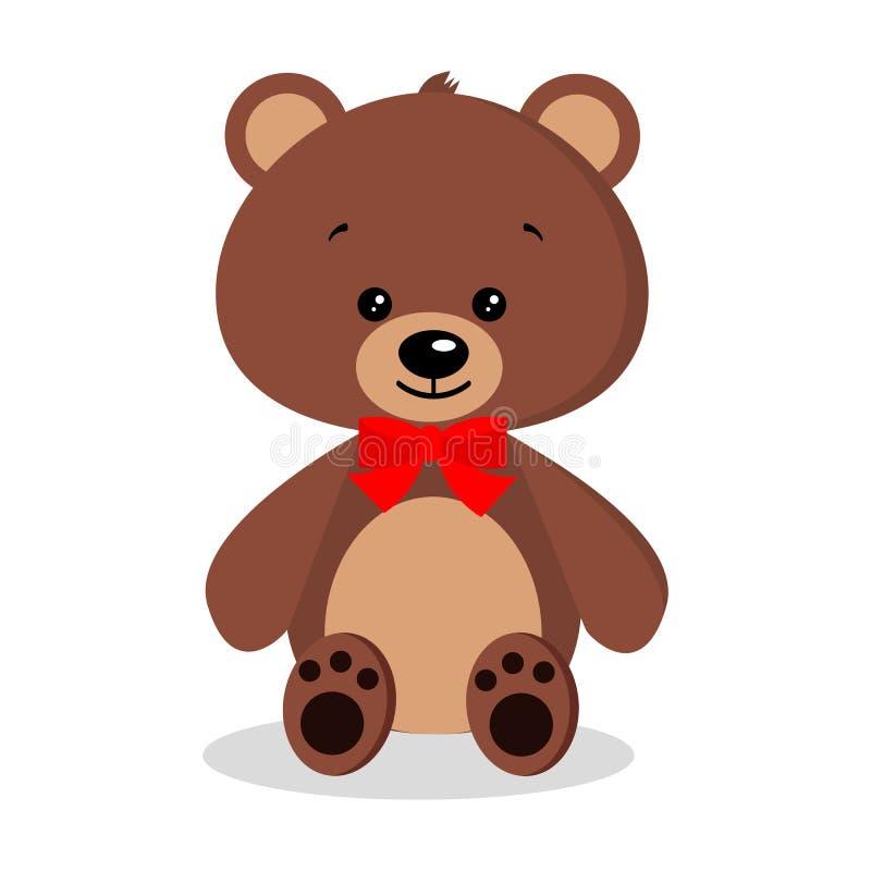 Geïsoleerde beeldverhaal leuke, zoete, romantische en feestelijke bruine teddybeer vector illustratie
