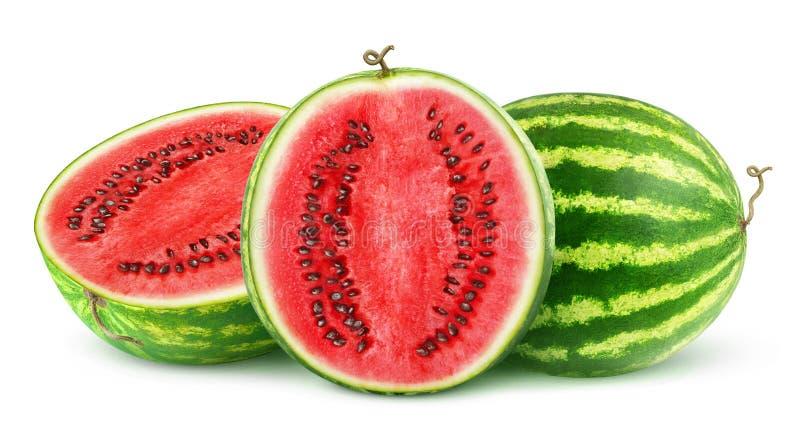 Geïsoleerde besnoeiingswatermeloenen stock foto's