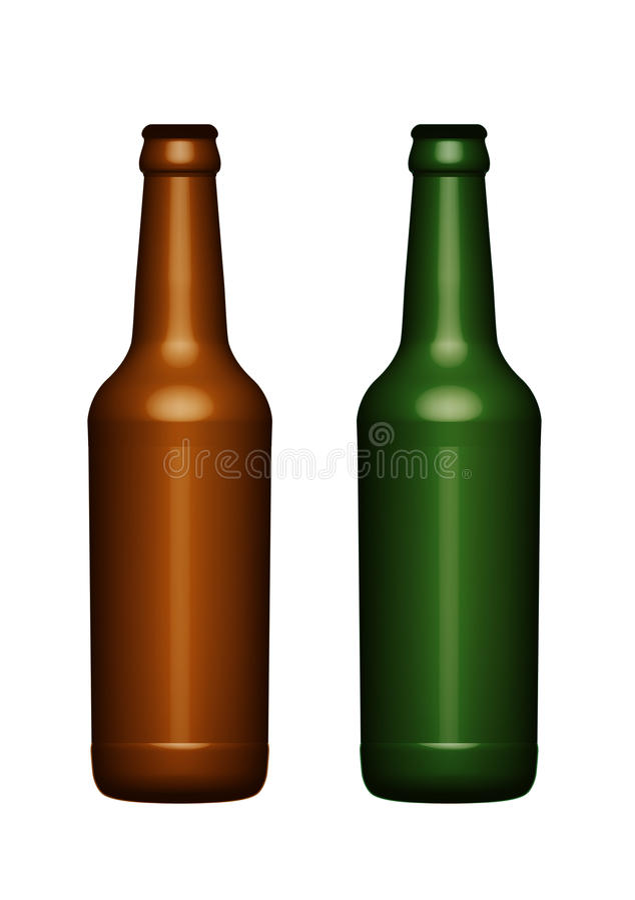 Geïsoleerde Bierflessen stock foto