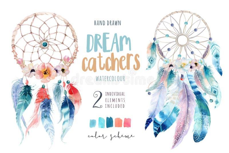 Geïsoleerde Boheemse dreamcatcher van de Waterverfdecoratie Boho royalty-vrije illustratie