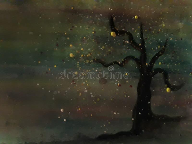 Geïsoleerde boom met in de schaduw gestelde kleuren vector illustratie