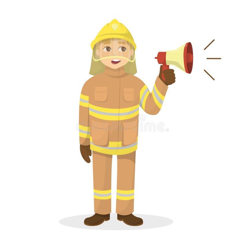 Geïsoleerde brandweerman met megafoon vector illustratie