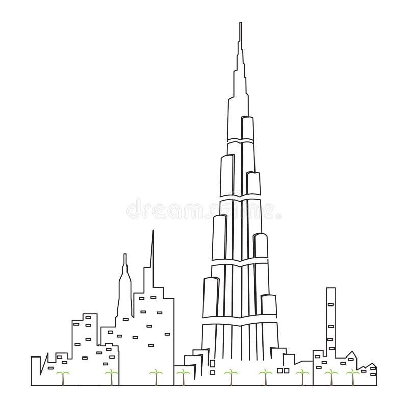 Geïsoleerde cityscape van Doubai royalty-vrije illustratie
