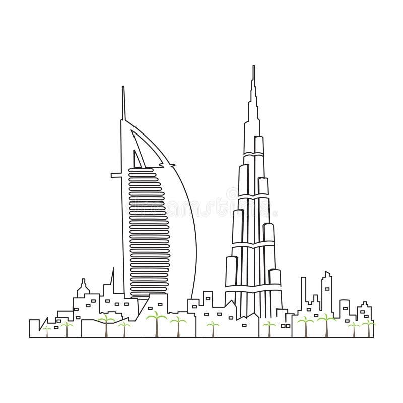 Geïsoleerde cityscape van Doubai vector illustratie