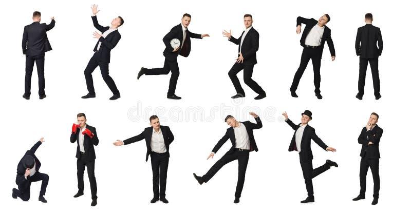 Geïsoleerde collage van de mens in motie, royalty-vrije stock foto's