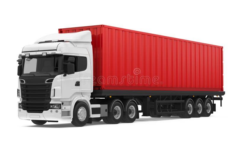 Geïsoleerde containervrachtwagen vector illustratie