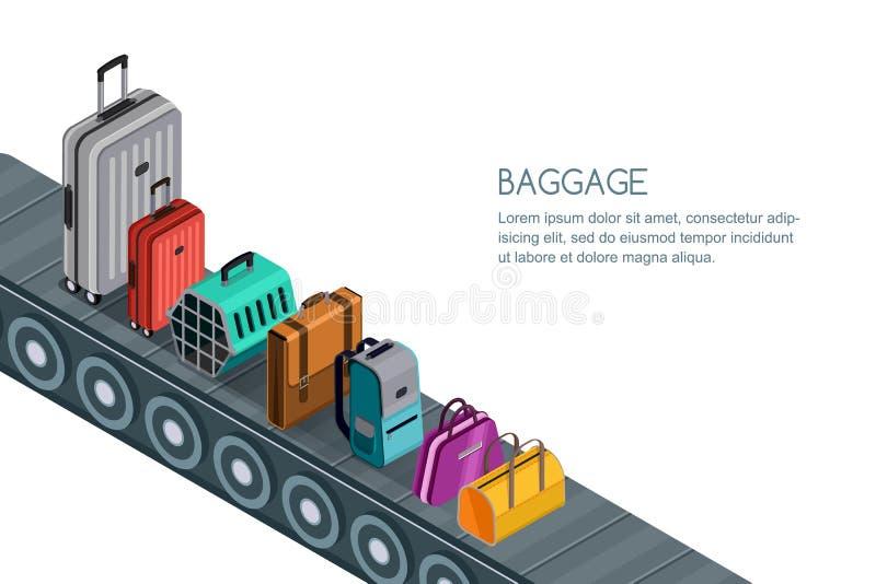 Geïsoleerde 3d isometrische illustratie van transportband met bagage, koffers, zakken Concept voor gecontroleerde bagage royalty-vrije illustratie