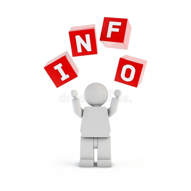 Geïsoleerde 3d mens met informatietekst royalty-vrije illustratie