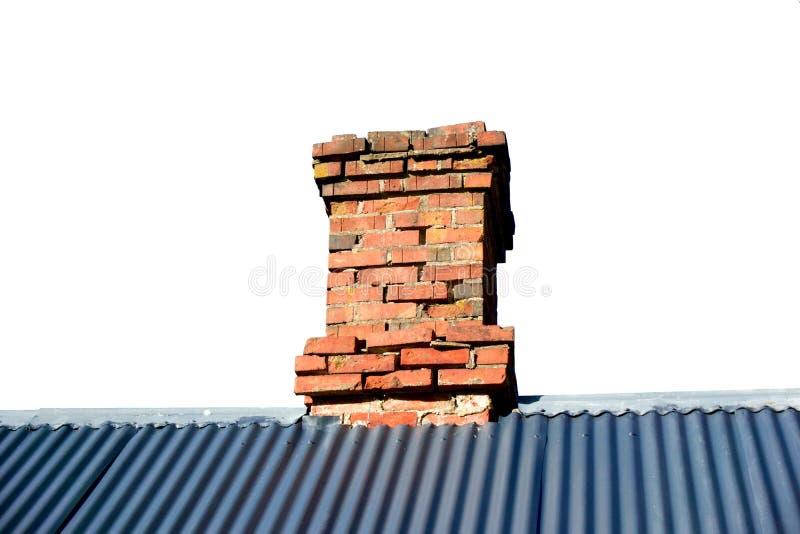 Geïsoleerde Dakrand met Schoorsteen royalty-vrije stock afbeelding
