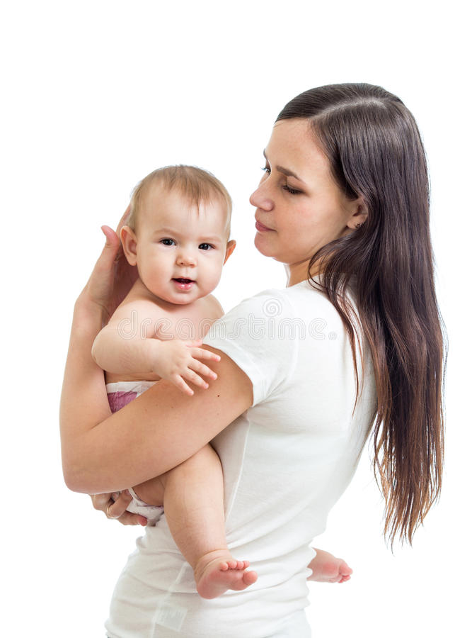 Geïsoleerde de baby van de mammaholding stock fotografie