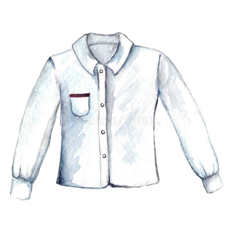 Geïsoleerde de blouse lange koker van het waterverf witte overhemd stock illustratie