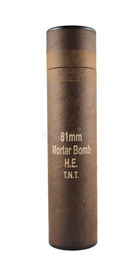 Geïsoleerde de buiscontainer van de mortierbom royalty-vrije stock afbeeldingen