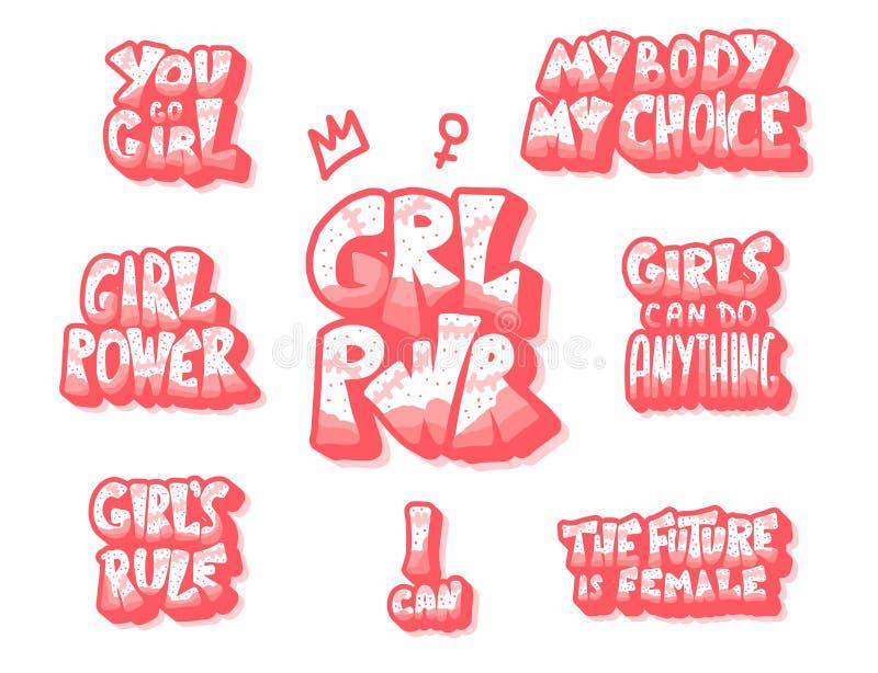Ge?soleerde de citaten van de meisjesmacht Vectortekstreeks stock illustratie