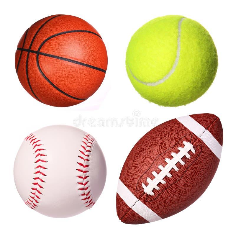 Geïsoleerde de inzameling van sportballen royalty-vrije stock afbeelding