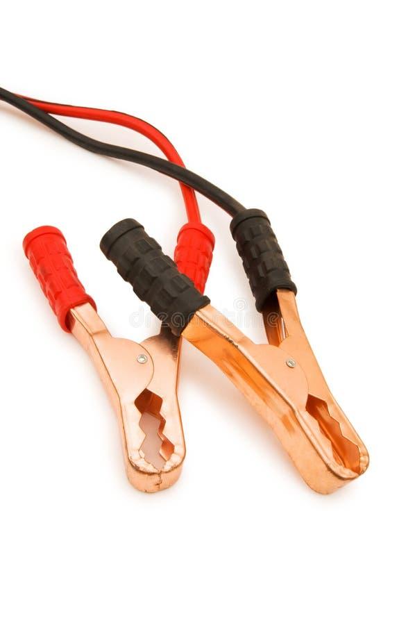 Geïsoleerde de kabels van de batterij royalty-vrije stock fotografie