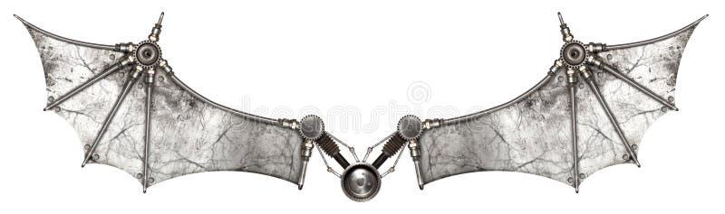 Geïsoleerde de knuppel van Steampunkvleugels royalty-vrije illustratie