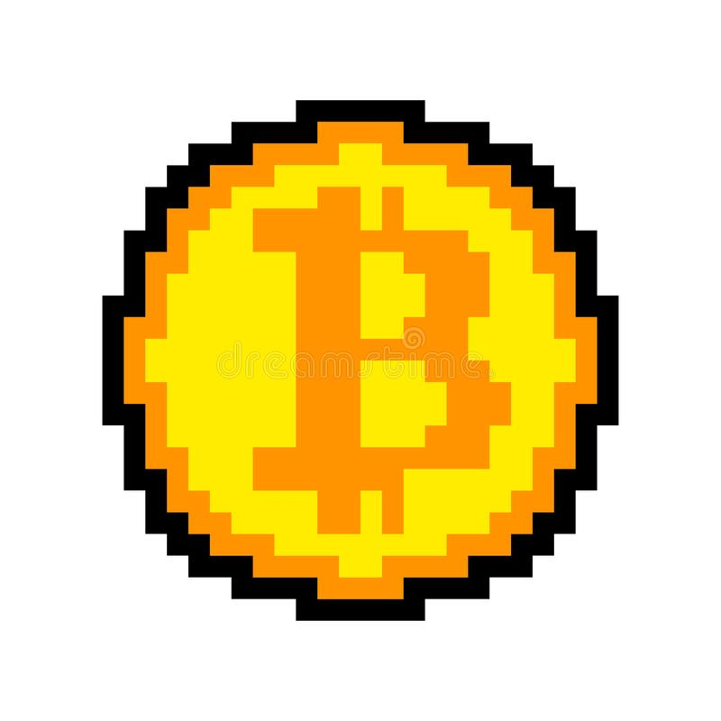Geïsoleerde de kunst van het Bitcoinpixel crypto munt met 8 bits Cryptocurrenc stock illustratie