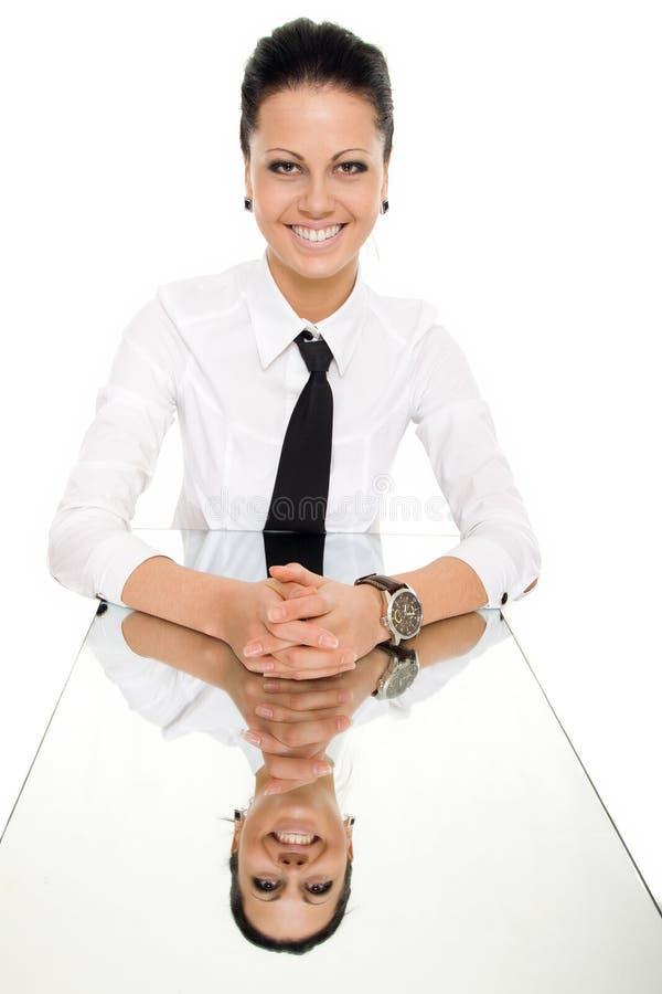 Geïsoleerde de lijst van de bedrijfsvrouwenspiegel stock foto