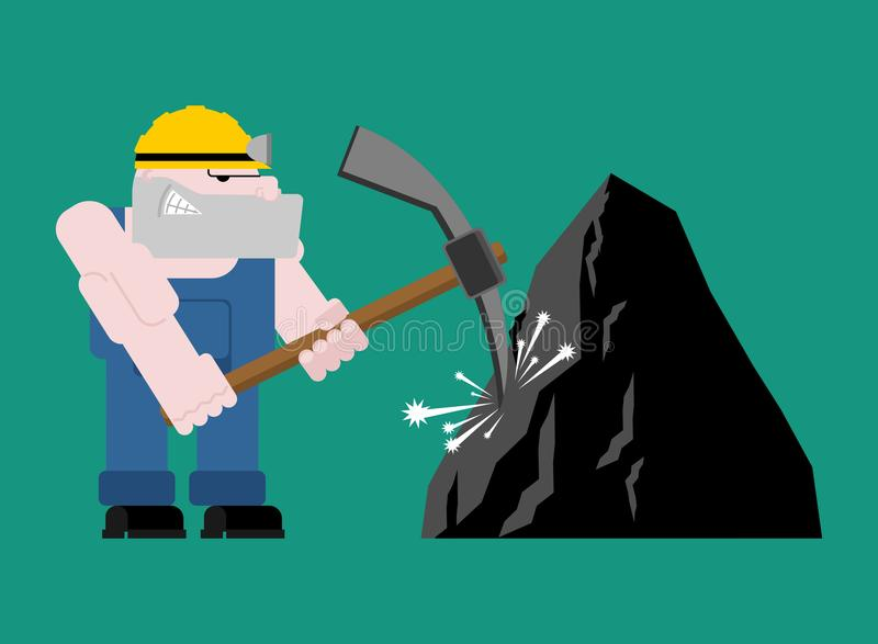Geïsoleerde de mijnbouw van de mijnwerkersarbeider collier met pikhouweel Pitman is bij vector illustratie