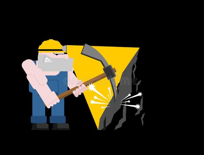 Geïsoleerde de mijnbouw van de mijnwerkersarbeider collier met pikhouweel Pitman is bij stock illustratie