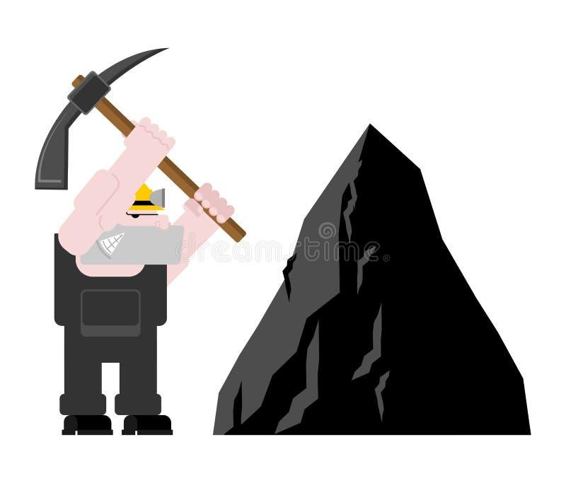 Geïsoleerde de mijnbouw van de mijnwerkersarbeider collier met pikhouweel Pitman is bij royalty-vrije illustratie